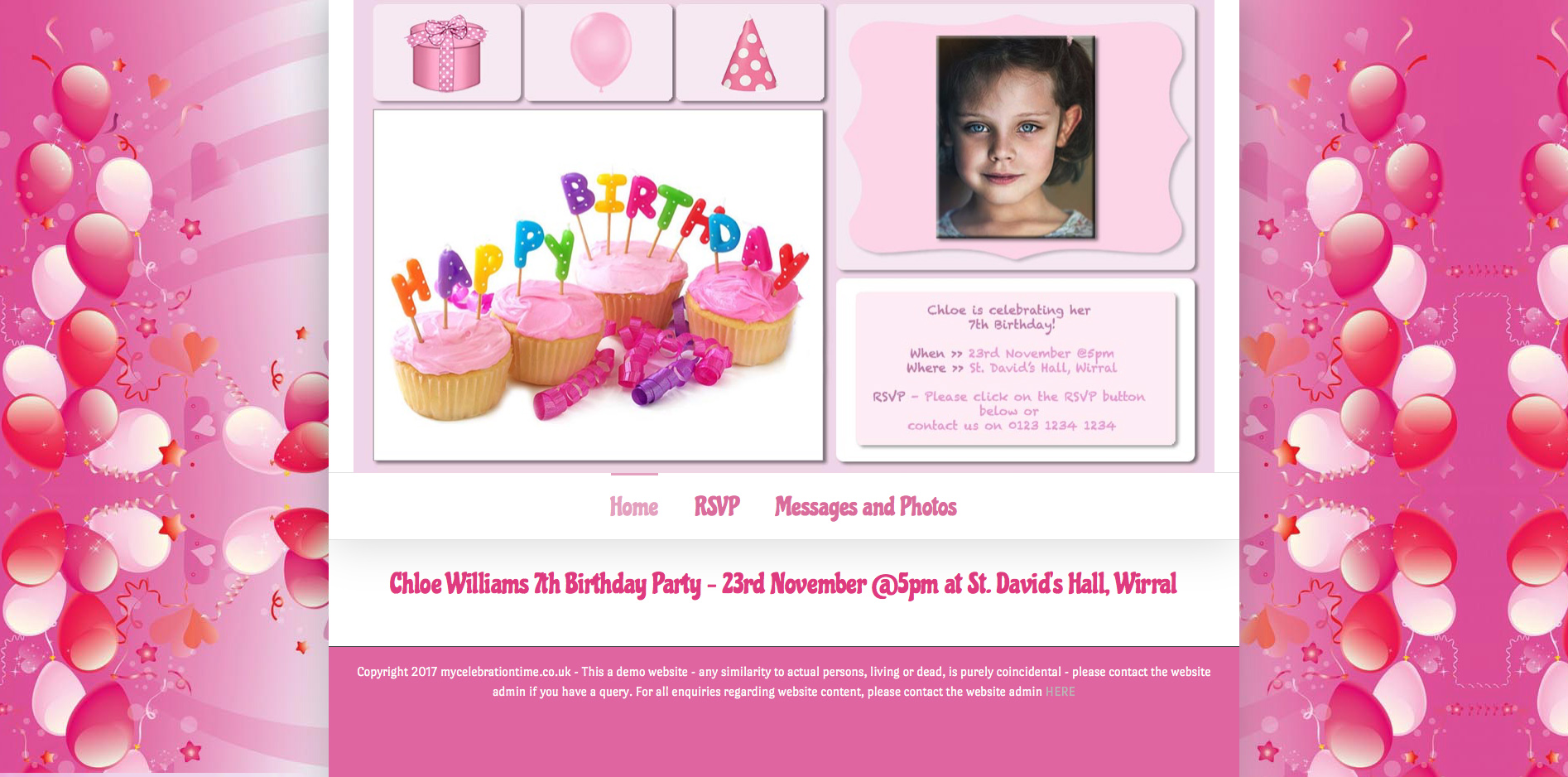 Party Website Pink Balloons